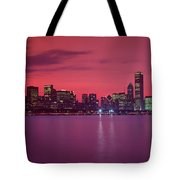 Red Chicago Sunset Tote Bag