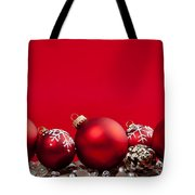 Red Christmas Baubles And Decorations Tote Bag by Elena Elisseeva