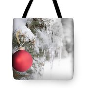 Red Christmas Ornament On Icy Tree Tote Bag
