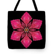 Red Clematis I Flower Mandala Tote Bag