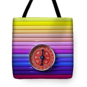 Red Compass On Rolls Of Colored Pencils Tote Bag