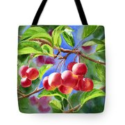 Red Crab Apples With Background Tote Bag