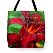 Red Day Lily And Quote Tote Bag