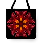 Red Daylily II Flower Mandala Tote Bag