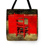 Red Desk And Chair Tote Bag