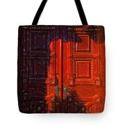 Red Door Behind Mysterious Shadow  Tote Bag