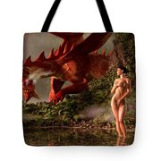 Red Dragon And Nude Bather Tote Bag