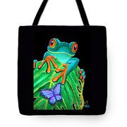 Red-eyed Tree Frog And Butterfly Tote Bag