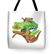 Red-eyed Treefrog Tote Bag by Cindy Hitchcock