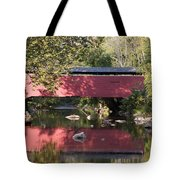 Red Fairhill Covered Bridge Two Tote Bag