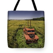 Red Firetruck In The Field Tote Bag