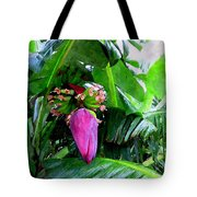 Red Flower Of A Banana Against Green Leaves Tote Bag