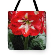 Red Flower With Starburst Tote Bag