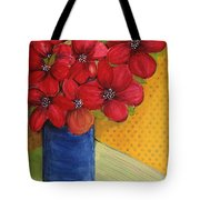 Red Flowers In A Blue Vase Tote Bag