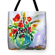 Red Flowers In A Vase Tote Bag