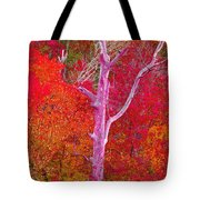 Pink Tree In A  Red Forest Tote Bag