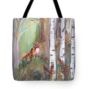 Red Fox And Cardinals Tote Bag