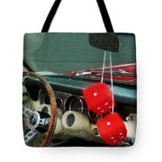 Red Fuzzy Dice In Converible Tote Bag