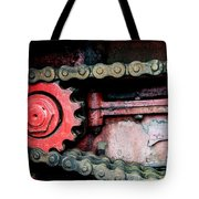 Red Gear Wheel And Chain Of Old Locomotive Tote Bag by Matthias Hauser