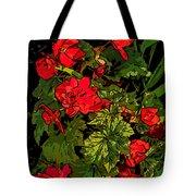Red Geranium Line Art Tote Bag