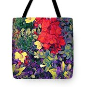 Red Geranium With Yellow And Purple Flowers - Horizontal Tote Bag