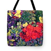 Red Geranium With Yellow And Purple Flowers - Vertical Tote Bag