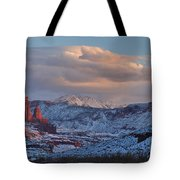 Red Glow In A Sea Of White - Panorama Tote Bag