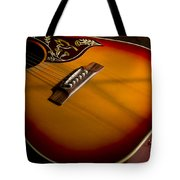 Red Guitar In Shadow Tote Bag