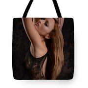 Red Hair Black Lace Tote Bag