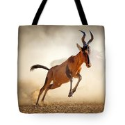 Red Hartebeest Running In Dust Tote Bag by Johan Swanepoel