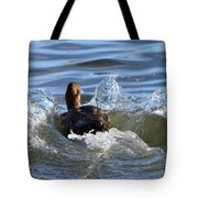 Red Head Duck Resurfaces With A Splash Tote Bag