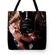 Red Head Gas Mask Tote Bag