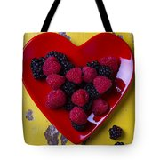 Red Heart Dish And Raspberries Tote Bag