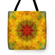 Red Heart Sun Rainbow Mandala Tote Bag