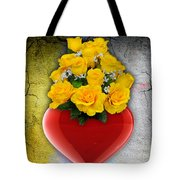 Red Heart Vase With Yellow Roses Tote Bag