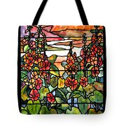 Stained Glass Tiffany Red Hollyhocks In Landscape In Watercolor Tote Bag