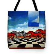 Red Horses With Zebra Tote Bag