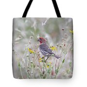 Red House Finch In Flowers Tote Bag