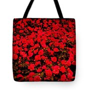 Red Impatiens Flowers Tote Bag