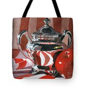 Red In Silver Tote Bag