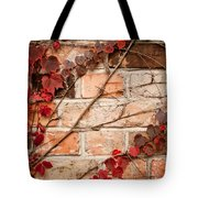 Red Ivy Leaves Creeper Tote Bag