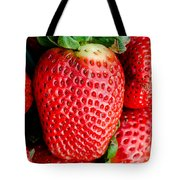Red Juicy Delicious California Strawberry Tote Bag