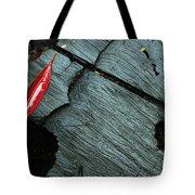 Red Leaf On Cut Wood Tote Bag