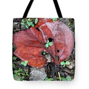 Red Leaf On Green Tote Bag