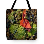 Red Leaf On Moss Tote Bag