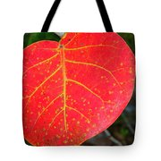 Red Leaf With Yellow Veins Tote Bag