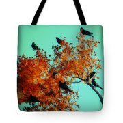 Red Leaves Among The Ravens Tote Bag
