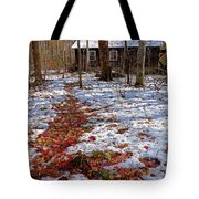 Red Leaves On Snow - Cabin In The Woods Tote Bag