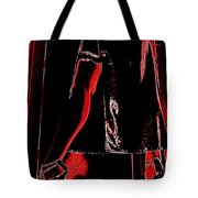 Red Light Black Dress Tote Bag
