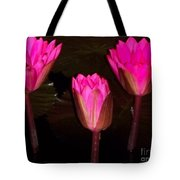 Red Lilies At Night Tote Bag